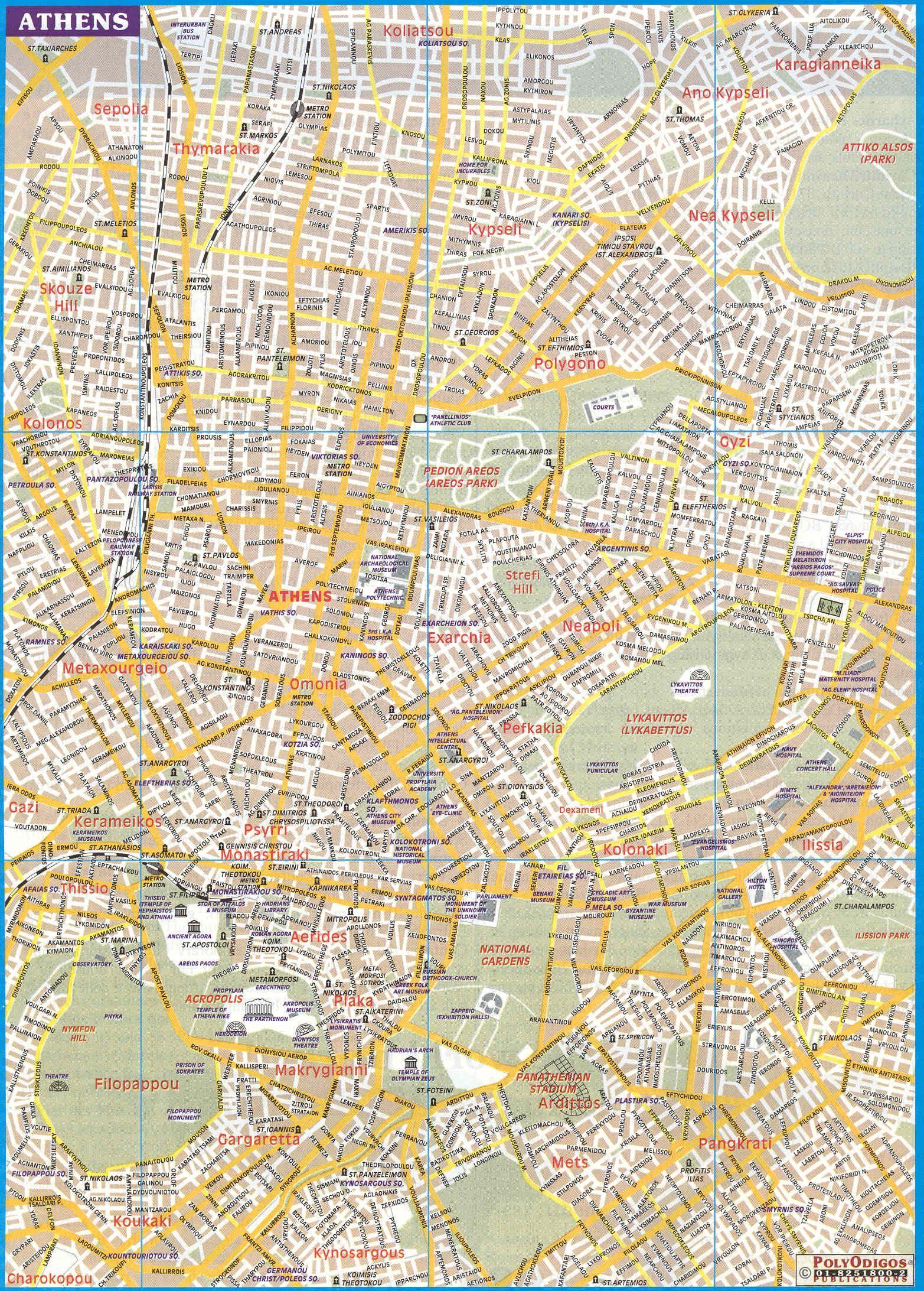 Athens City Map Harta Orașului Din Atena Grecia Grecia