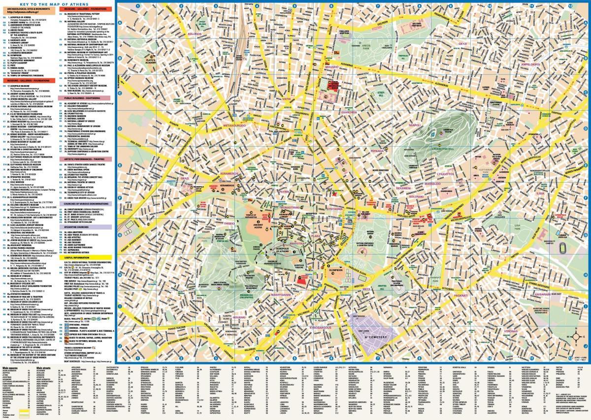 Atena Harta Obiectivelor Turistice Atena Grecia Harta