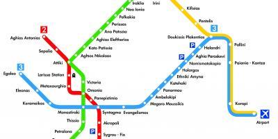Atena Arată Hartă Hărți Atena Grecia